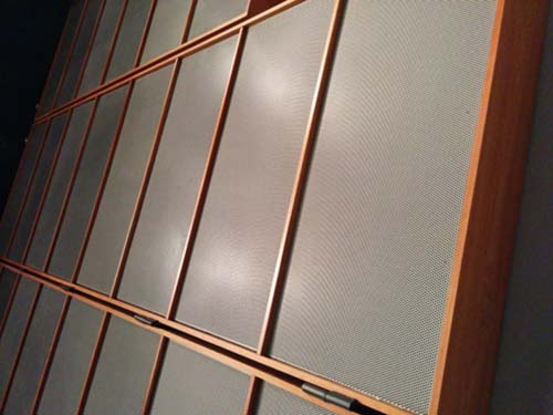 Acoustic panels on auditorium wall