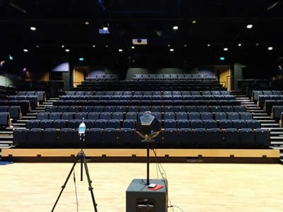 Reverberation testing equipment in theatre